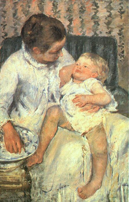Mary Cassatt Mother About to Wash her Sleepy Child oil painting image