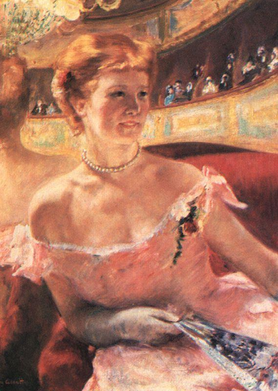 Mary Cassatt Lydia in a Loge Wearing a Pearl Necklace oil painting image