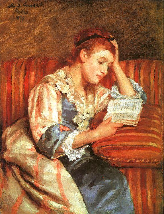 Mary Cassatt Mrs Duffee Seated on a Striped Sofa, Reading oil painting image