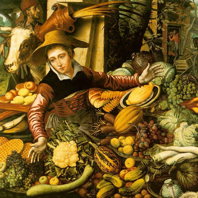 Pieter Aertsen Market Woman  with Vegetable Stall oil painting image