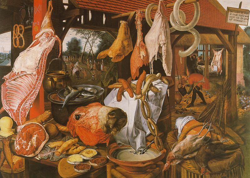 Pieter Aertsen  Butcher's Stall with the Flight into Egypt oil painting image