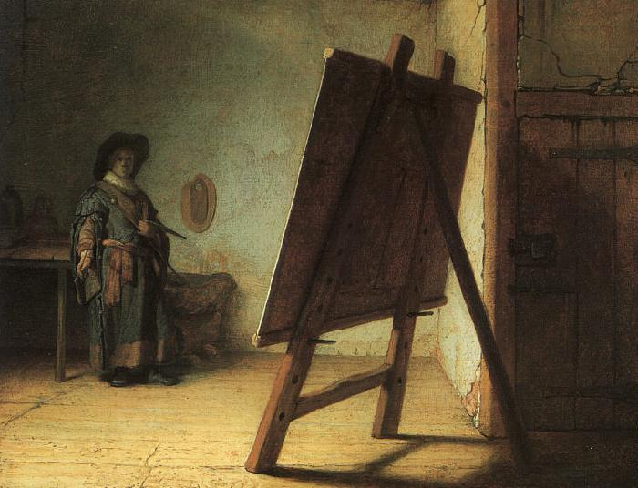 Rembrandt Artist in his Studio oil painting image