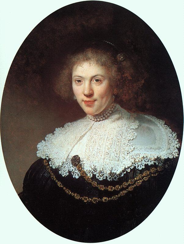 Rembrandt Woman Wearing a Gold Chain oil painting image