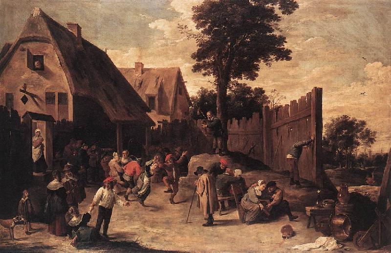 TENIERS, David the Younger Peasants Dancing outside an Inn wt oil painting image