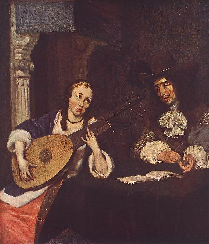 TERBORCH, Gerard Woman Playing the Lute st oil painting image