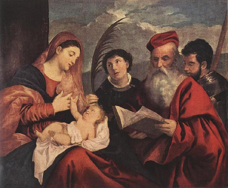 TIZIANO Vecellio Mary with the Child and Saints rt oil painting image