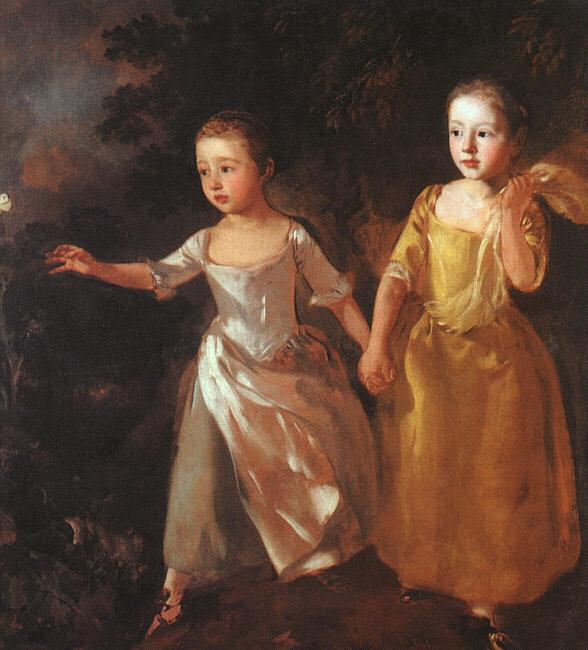 Thomas Gainsborough The Painter's Daughters Chasing a Butterfly oil painting image