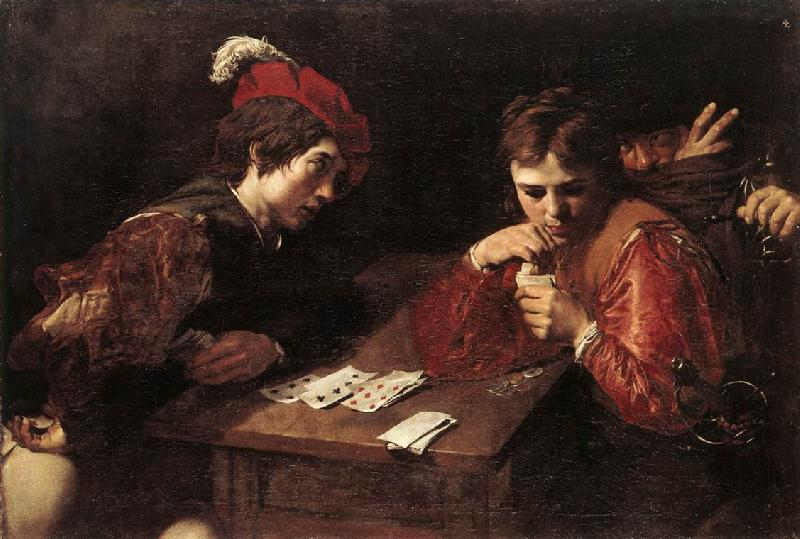 VALENTIN DE BOULOGNE Card-sharpers at oil painting image