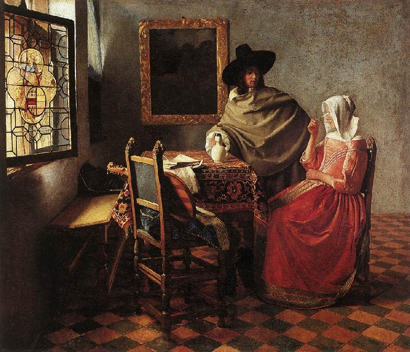 VERMEER VAN DELFT, Jan A Lady Drinking and a Gentleman wr oil painting image