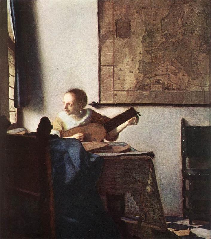 VERMEER VAN DELFT, Jan Woman with a Lute near a Window wt oil painting image