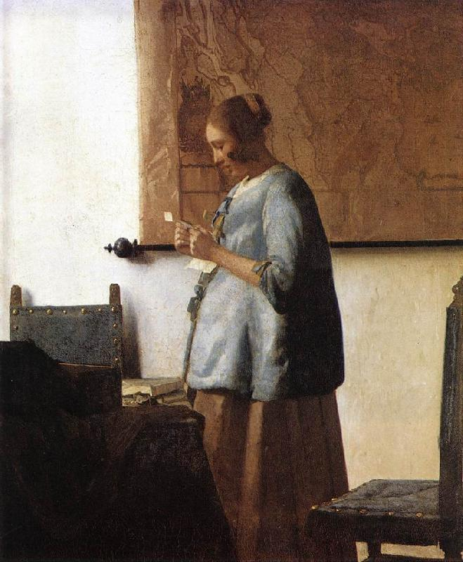 VERMEER VAN DELFT, Jan Woman in Blue Reading a Letter ng oil painting image