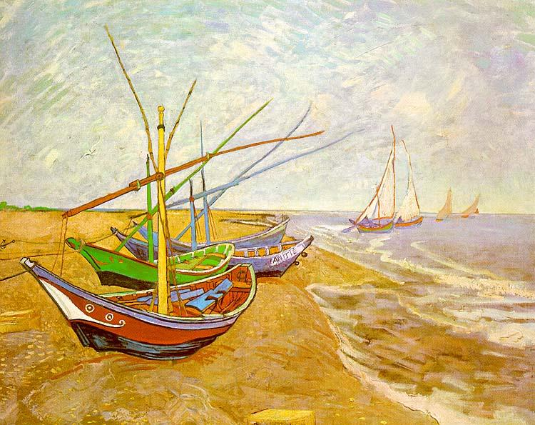 Vincent Van Gogh Fishing Boats on the Beach at Saintes-Maries oil painting image