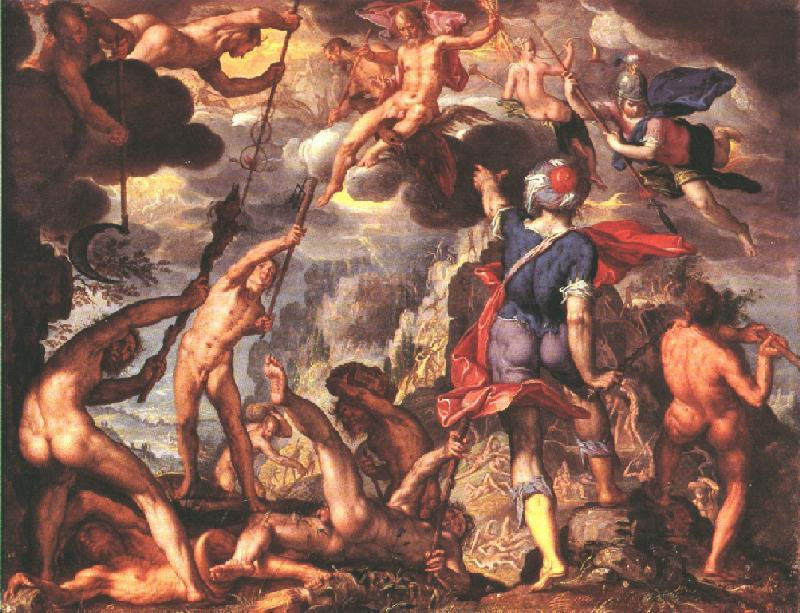 WTEWAEL, Joachim The Battle Between the Gods and the Titans iyu oil painting image