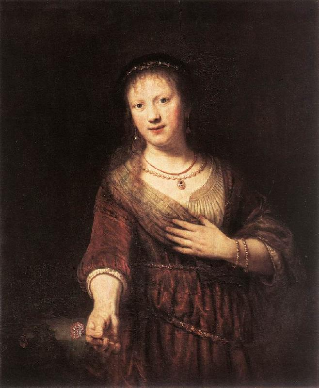 REMBRANDT Harmenszoon van Rijn Portrait of Saskia with a Flower oil painting image