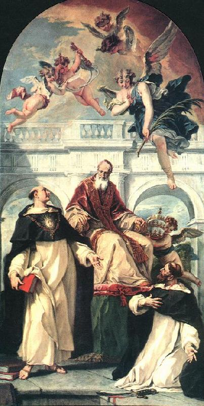 RICCI, Sebastiano St Pius, St Thomas of Aquino and St Peter Martyr oil painting image