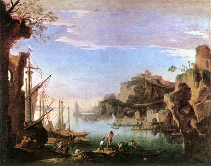 ROSA, Salvator Harbour with Ruins af oil painting image