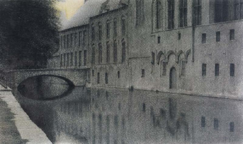 Fernand Khnopff memory of Flanders A canal oil painting picture