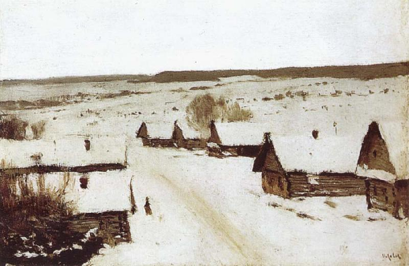 Isaac Levitan Village,Winter oil painting picture