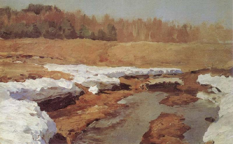 Isaac Levitan Spring,The Last Snow oil painting picture