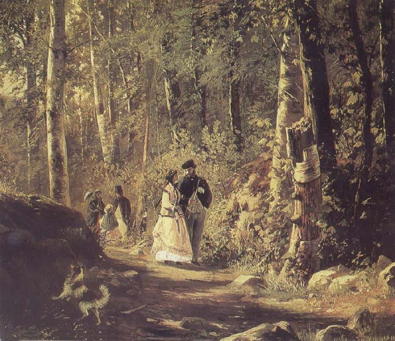 Ivan Shishkin A Stroll in the Forest oil painting picture