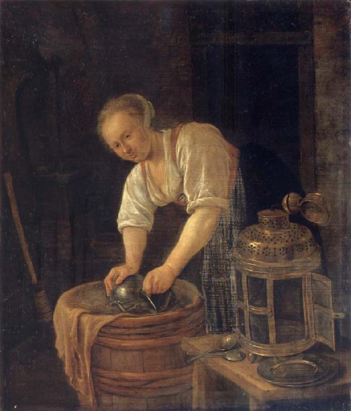 Jan Steen Woman sourig a pot oil painting picture