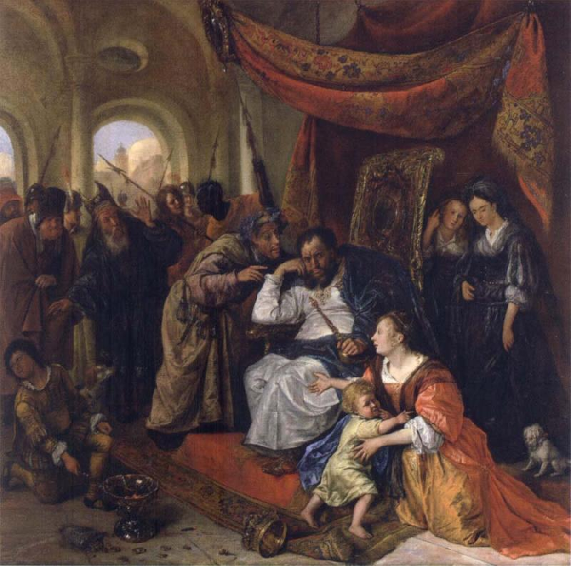 Jan Steen Moses trampling on Pharaob-s crown oil painting picture