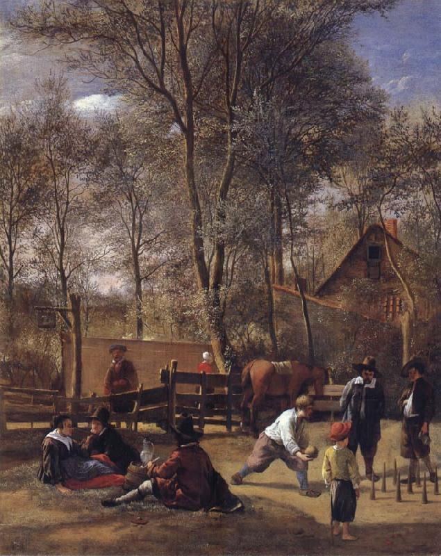 Jan Steen Skittle players outside an inn oil painting picture