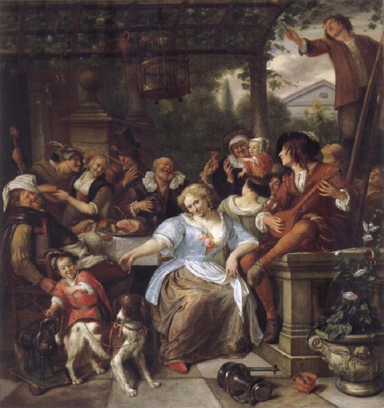 Jan Steen Merry company on a terrace oil painting picture