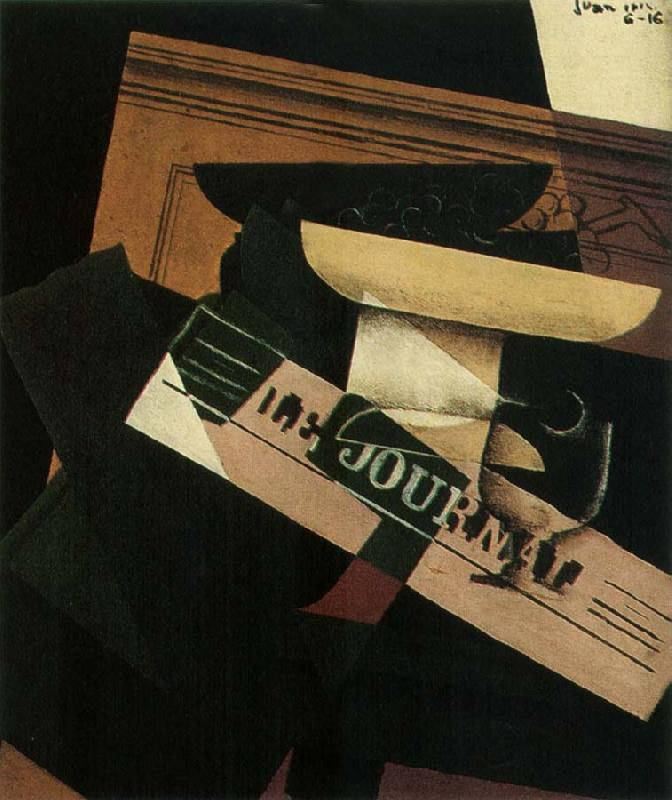 Juan Gris The Still life having the fruit dish and newspaper oil painting image