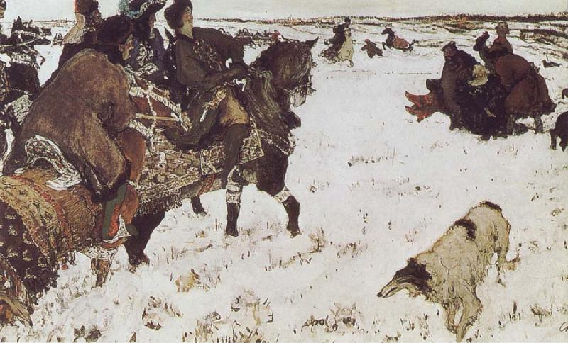 Valentin Serov Peter the Great Riding to Hounds oil painting picture