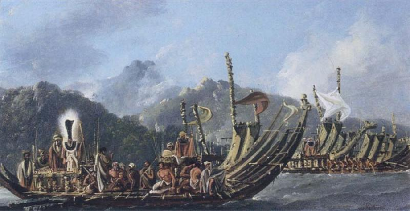 William Hodges Review of the War Galleys at Tahiti oil painting picture