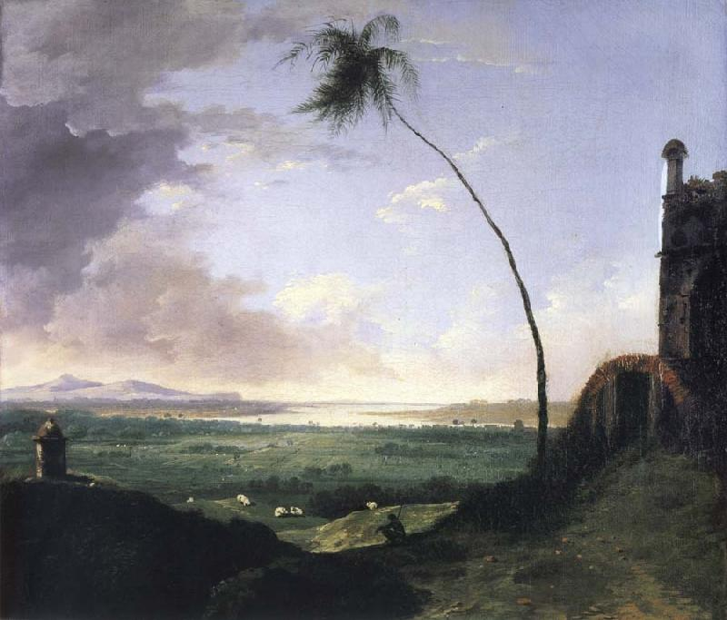 unknow artist Tomb and distant View of the Rajmahal Hills oil painting picture