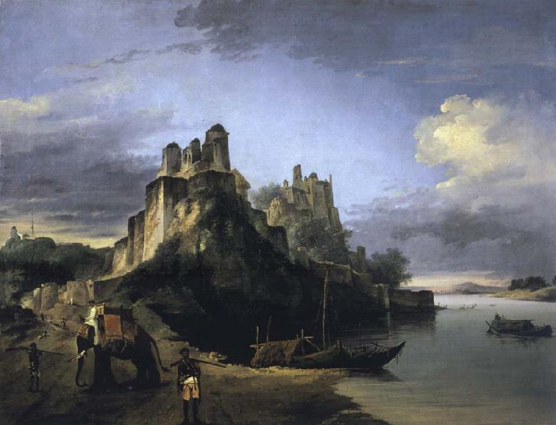 unknow artist A View of the West Side of the Fortress of Chunargarh on the Ganges oil painting picture
