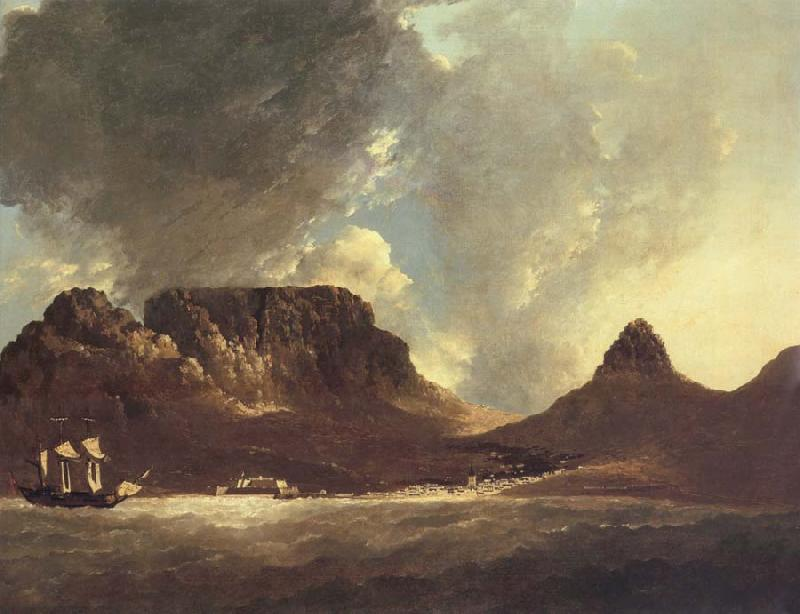 unknow artist A View of the Cape of Good Hope,taken on the spot,from on board the Resolution,capt,coode,November 1772 oil painting image