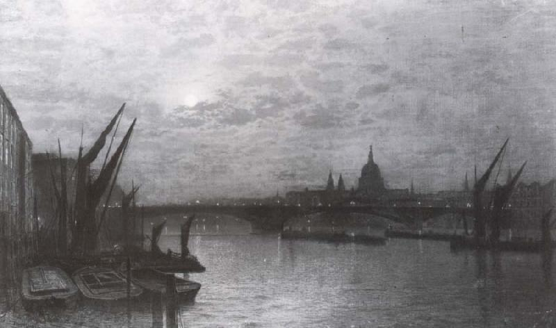 Atkinson Grimshaw The Thames by Moonlight with Southmark Bridge oil painting image