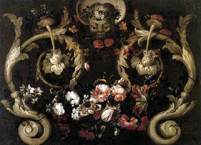 CORTE, Gabriel de la. Grotesques with Flowers oil painting picture