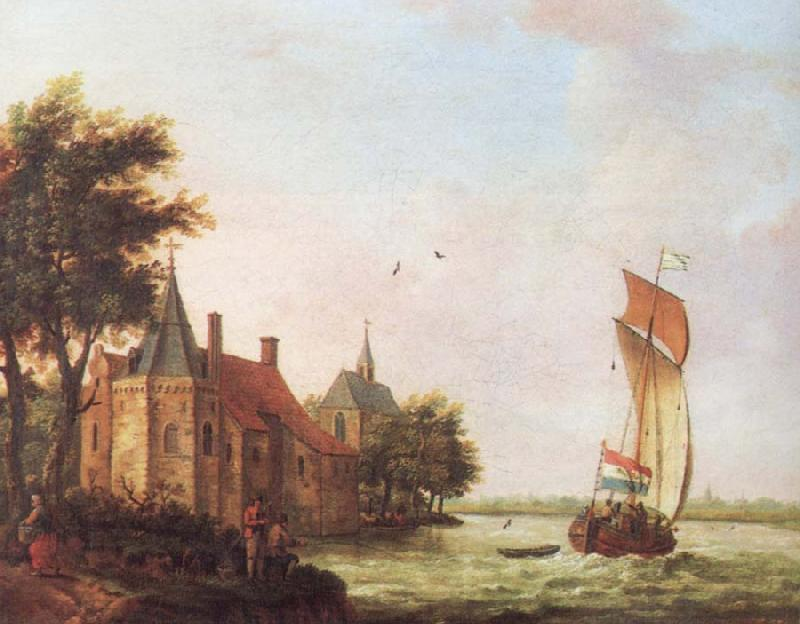 Francis Swaine A wooded river landscape in Hoolland with a Dutch hooder under sail in a brisk wind oil painting image