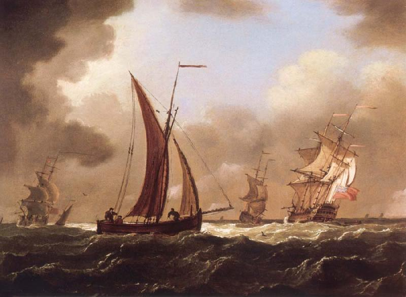 Francis Swaine Small craft at sea in a stiff breeze oil painting image