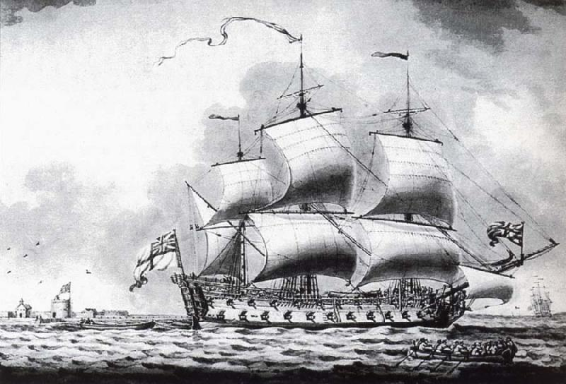 Francis Swaine A drawing of a British two-decker off Calshot Castle oil painting image