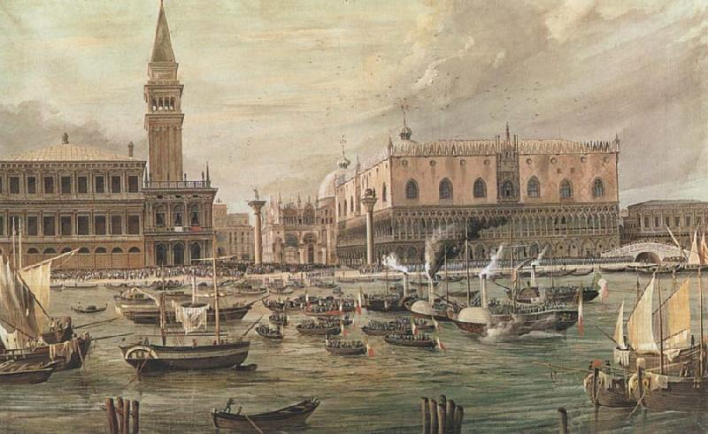 Luigi Querena The Arrival in Venice of Napoleon-s Troops oil painting picture