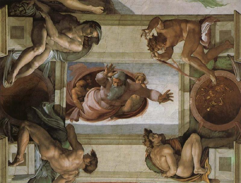 Michelangelo Buonarroti God separates the waters and the country and blesses its work, oil painting image