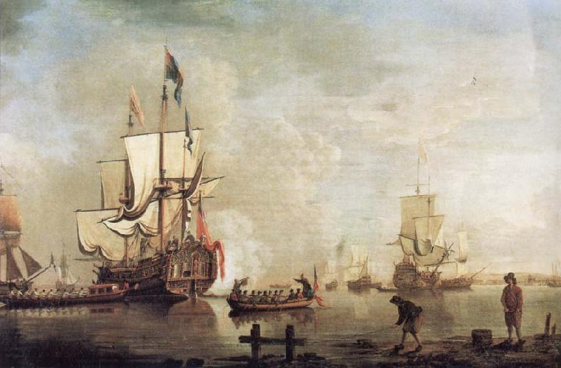 Thomas Mellish The Royal Caroline in a calm estuary flying a Royal standard and surrounded by an attendant barge and other small boats oil painting image