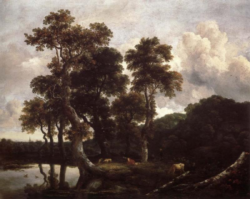 Jacob van Ruisdael Grove of Large Oak trees at the Edge of a pond oil painting picture