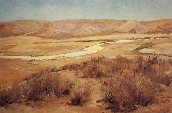 Charles Fries Looking Down Mission Valley,Summertime oil painting image