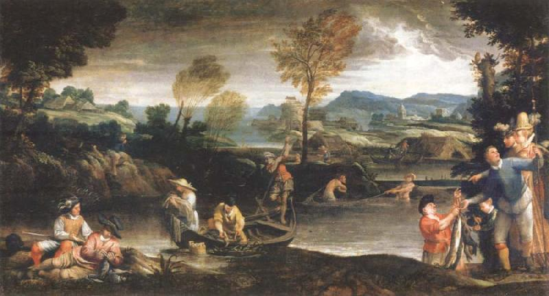 Annibale Carracci landscape with fishing scene oil painting image