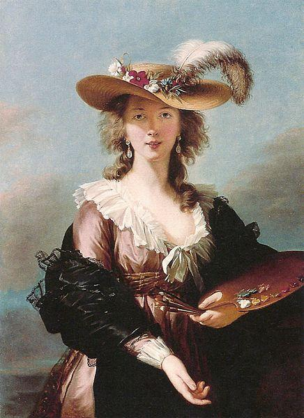 Elisabeth Louise Viegg-Le Brun Self portrait in a Straw Hat, oil painting image
