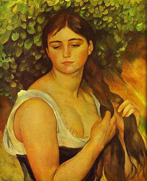 Pierre-Auguste Renoir Girl Braiding Her Hair oil painting image