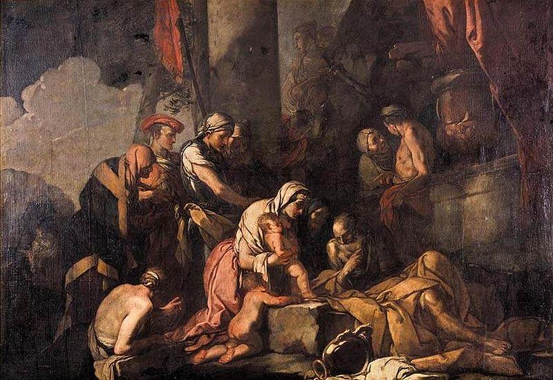 CARPIONI, Giulio Liriope Bringing Narcissus before Tiresias oil painting image
