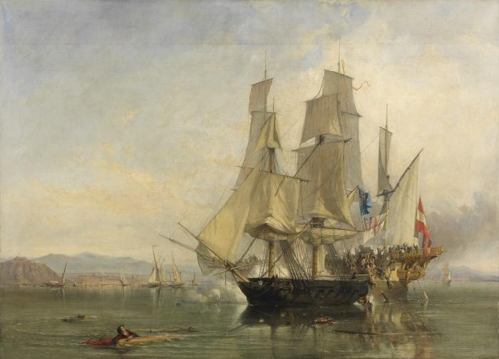 Clarkson Frederick Stanfield Action and Capture of the Spanish Xebeque Frigate El Gamo oil painting image