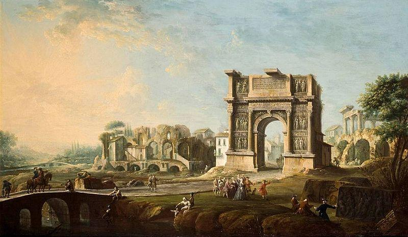 Antonio Joli The Arch of Trajan at Benevento oil painting image